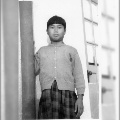 A photo of Sadako Sasaki in black and white.